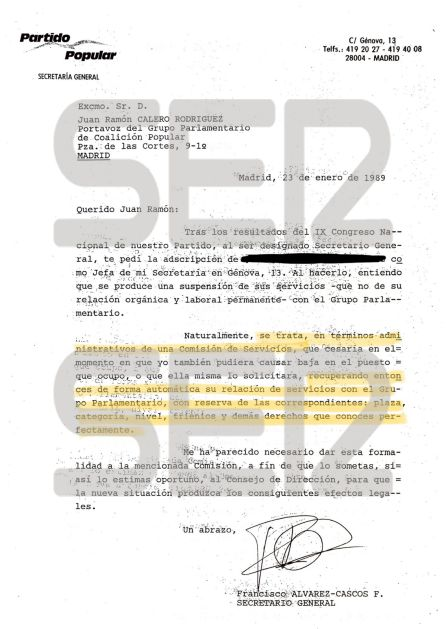 Documento de 1989 de la secretaría general del PP