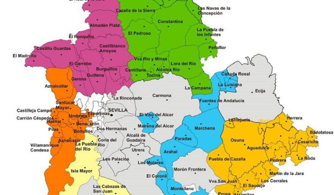 Provincia De Sevilla Mapa.El Psoe Gobierna Los Municipios Mas Poblados Y Conserva