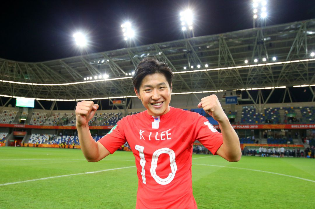 BIELSKO-BIALA, POLAND - JUNE 08: Kangin Lee of Korea Republic celebrates victory after the 2019 FIFA U-20 World Cup Quarter Final match between Korea Republic and Senegal at Bielsko-Biala Stadium on June 08, 2019 in Bielsko-Biala, Poland. (Photo by Alex Livesey - FIFA, FIFA via Getty Images)