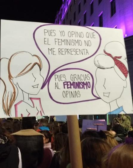 Pancarta de la pasada manifestación del 8M en Madrid