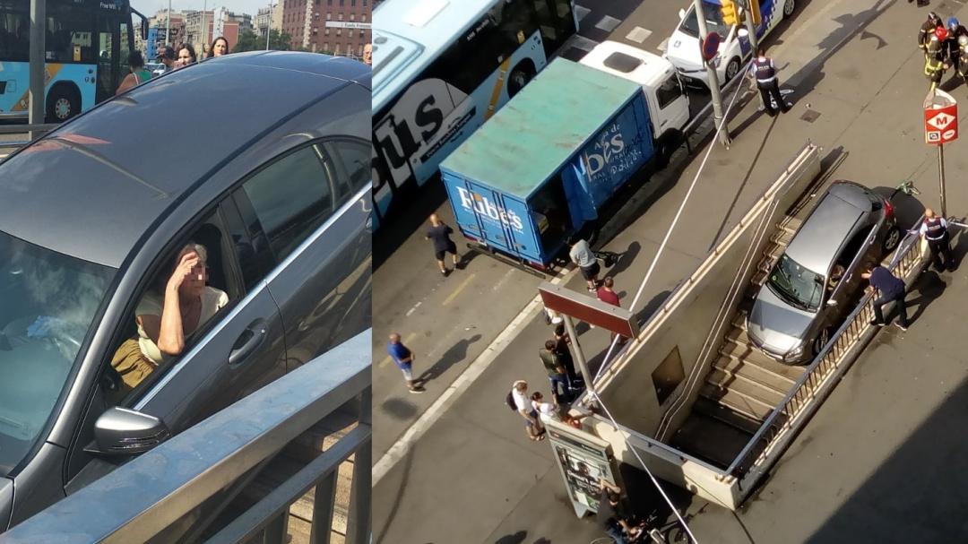 Mete su coche en una boca del metro de Barcelona creyendo que era la entrada de un parking