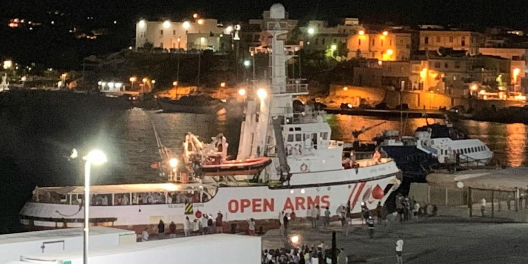 The Spanish humanitarian ship 'Open Arms', with migrants on board, arrives in Lampedusa island, southern Italy, 20 August 2019. An Italian public prosecutor has ordered the confiscation of the migrant ship Open Arms, carrying some 140 migrants, and the evacuation of migrants on board to the island of Lampedusa on 20 August 2019 after inspecting the boat, according media reports