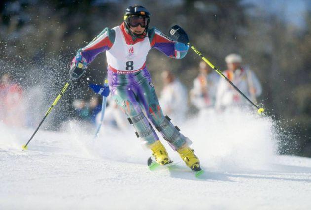 Blanca Fernández Ochoa durante la carrera de eslalon que le valió el bronce en los JJOO de Albertville en 1992.