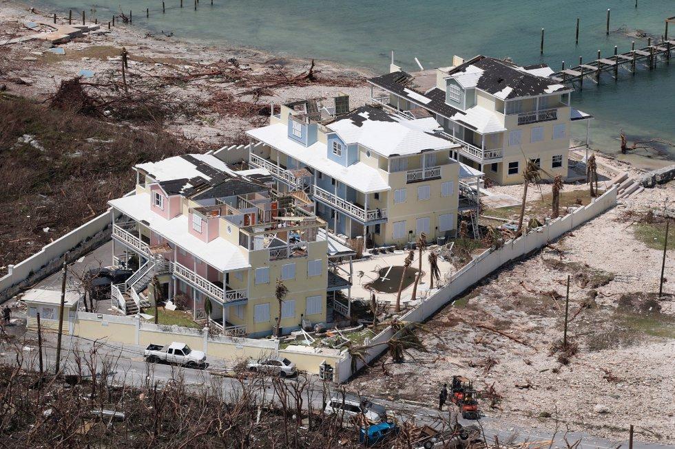 Vista aérea de los daños causados por el huracán Dorian en la isla de Great Abaco