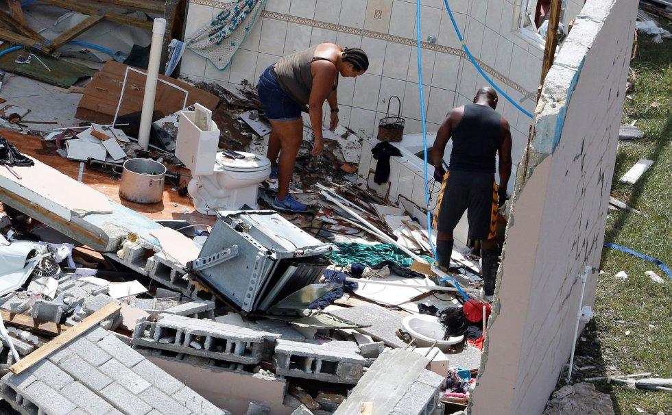 Vista aérea de las consecuencias del paso de Dorian por la isla de Gran Bahama