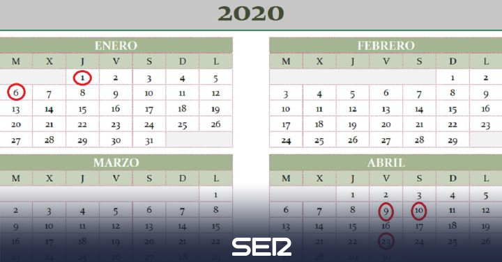 Calendario Laboral 2020 Bizkaia.Consulta El Calendario Laboral De 2020 Ser Avila Cadena Ser