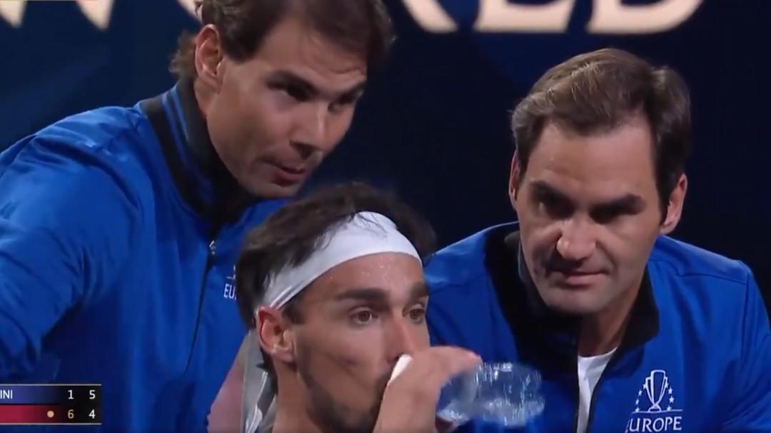 La lección de Rafa Nadal y Roger Federer ante la frustración de Fognini