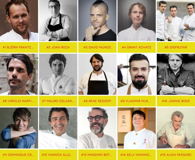 Los 15 mejores chefs, según The Best Chef 2019.