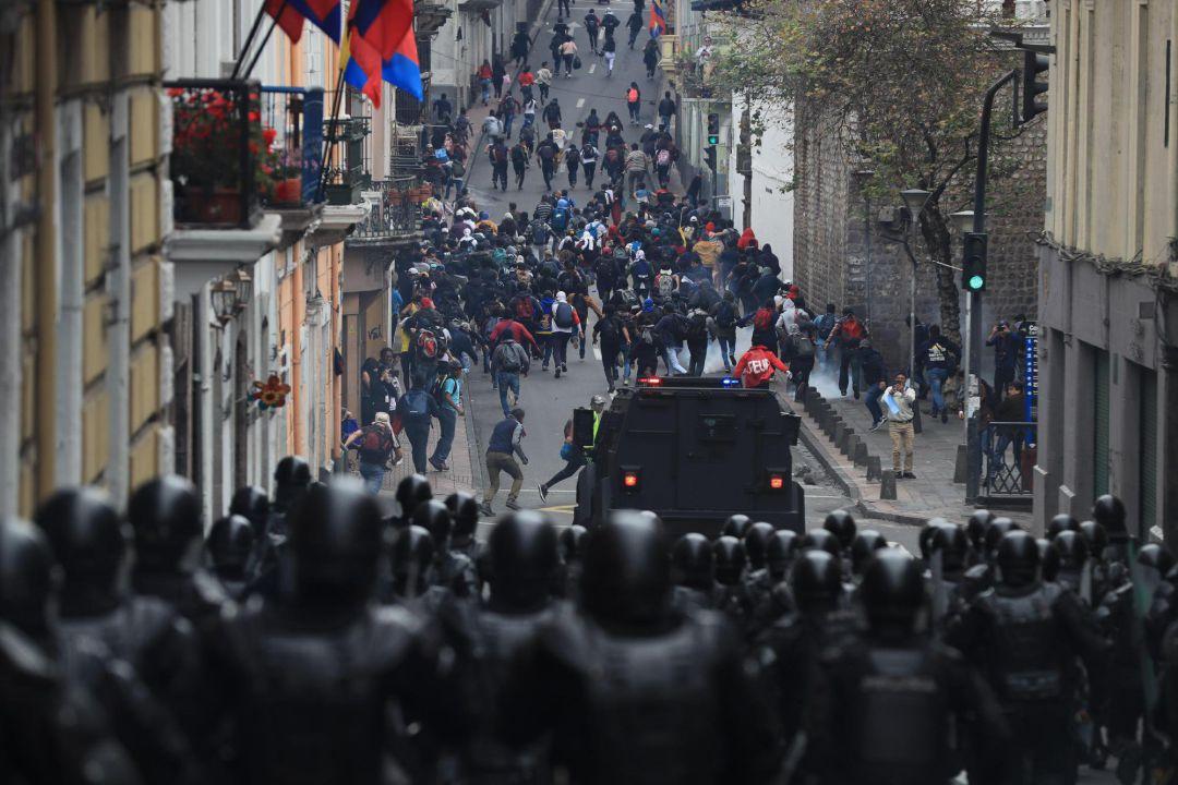Disturbios en el centro de Quito