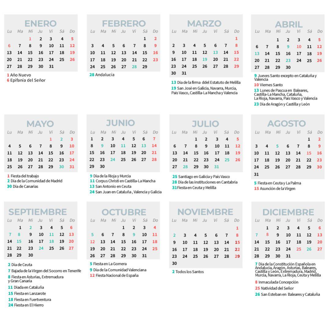 Calendario Laboral 2020 Consulta Los Días Festivos En Tu Comunidad Economía Cadena Ser