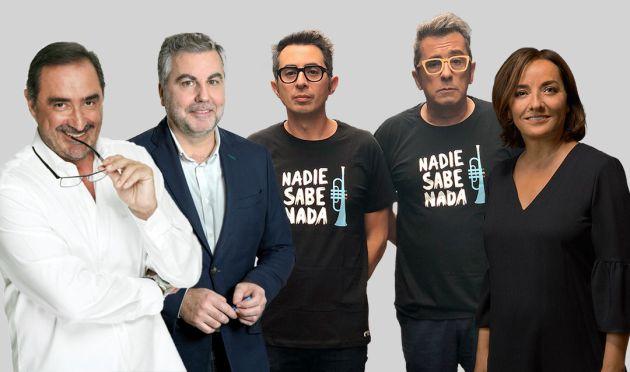 Carlos Herrera, Carlos Alsina, Berto Romero, Andreu Buenafuente y Pepa Bueno, ganadores del Premio Ondas 2019