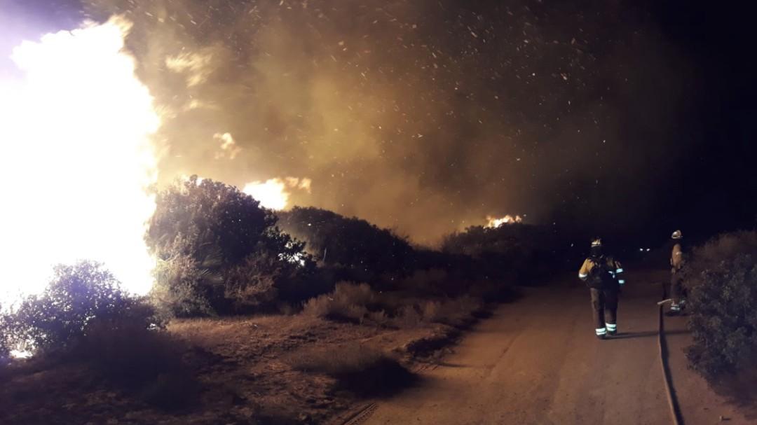 Un incendio forestal corta la AP-7 y obliga a desalojar 40 vecinos en Manilva