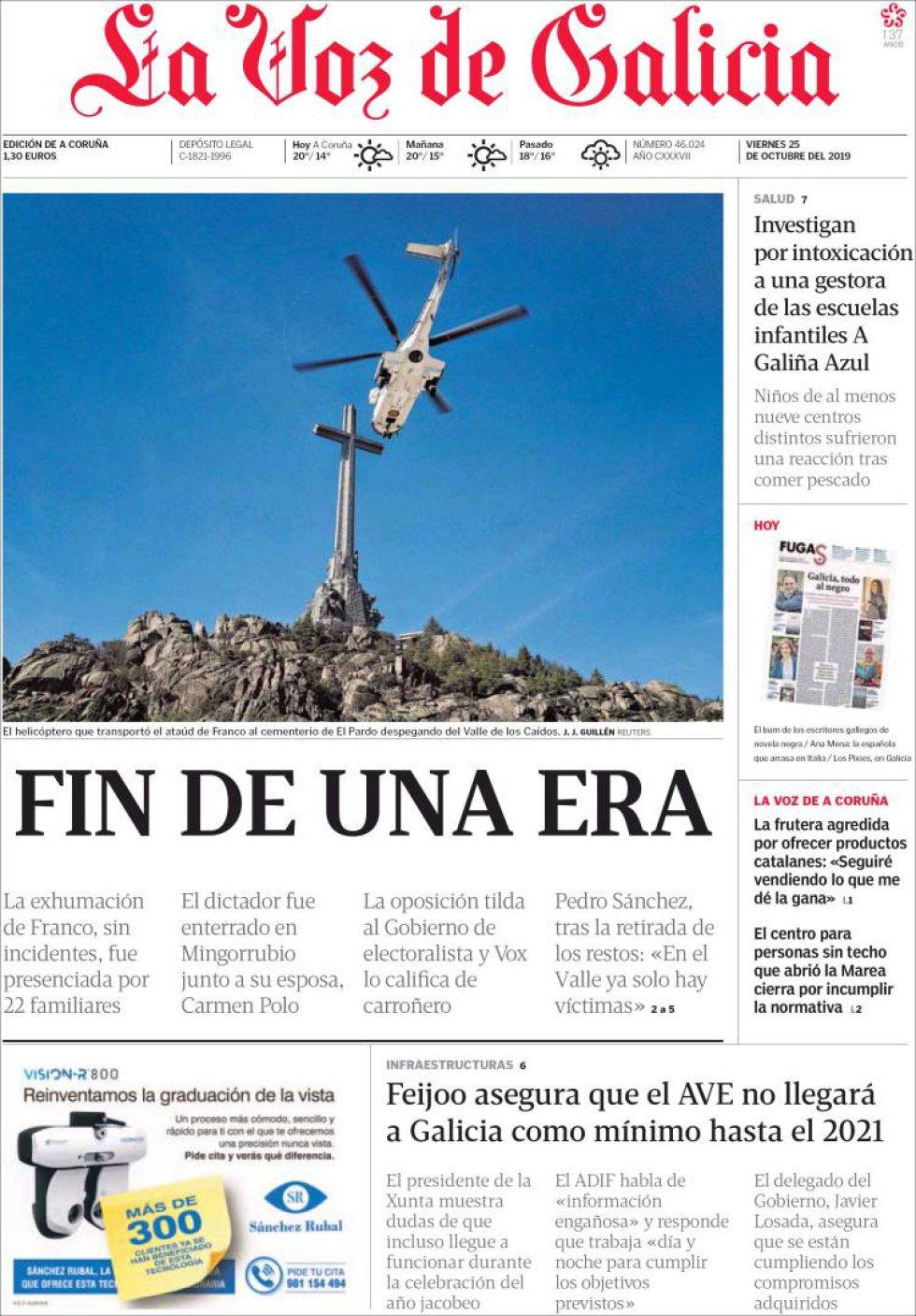 La exhumación de Franco, en las portadas de los periódicos
