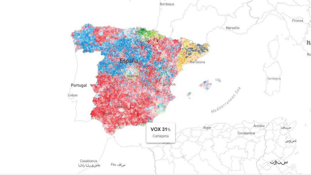 Resultados de las elecciones del 10-N por municipios