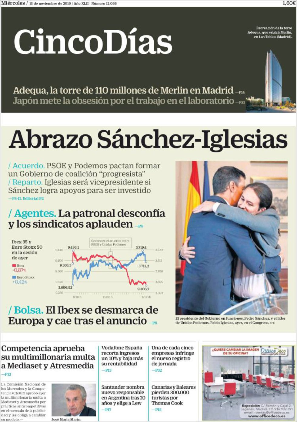 Las interpretaciones del abrazo de Sánchez e Iglesias, en la prensa