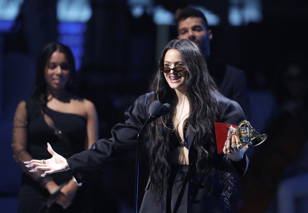 Rosalía durante la gala de los Grammy.