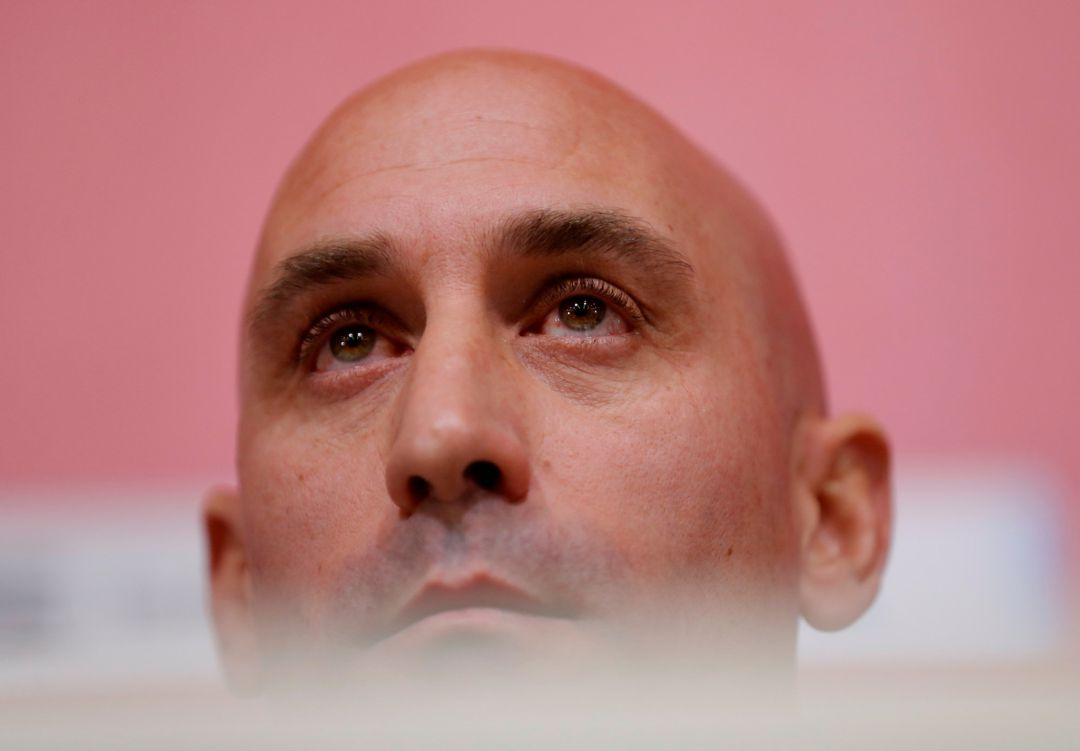 Soccer Football - Spain Press Conference - Spanish Football Federation Headquarters, Las Rozas, Madrid, Spain - November 19, 2019   Spanish soccer federation president Luis Rubiales during the press conference   REUTERS, Susana Vera