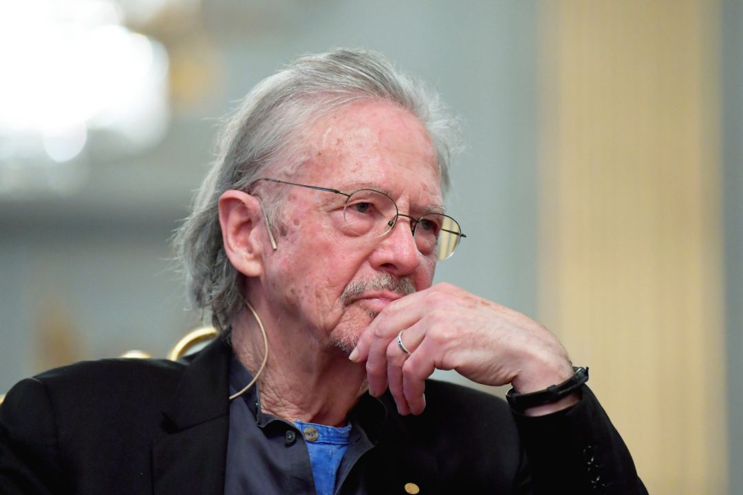 Nobel Prize in Literature laureate Peter Handke reacts during a news conference at the Swedish Academy in Stockholm, Sweden December 6, 2019