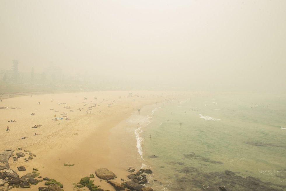 Escasa visibilidad en la playa de Bondi.