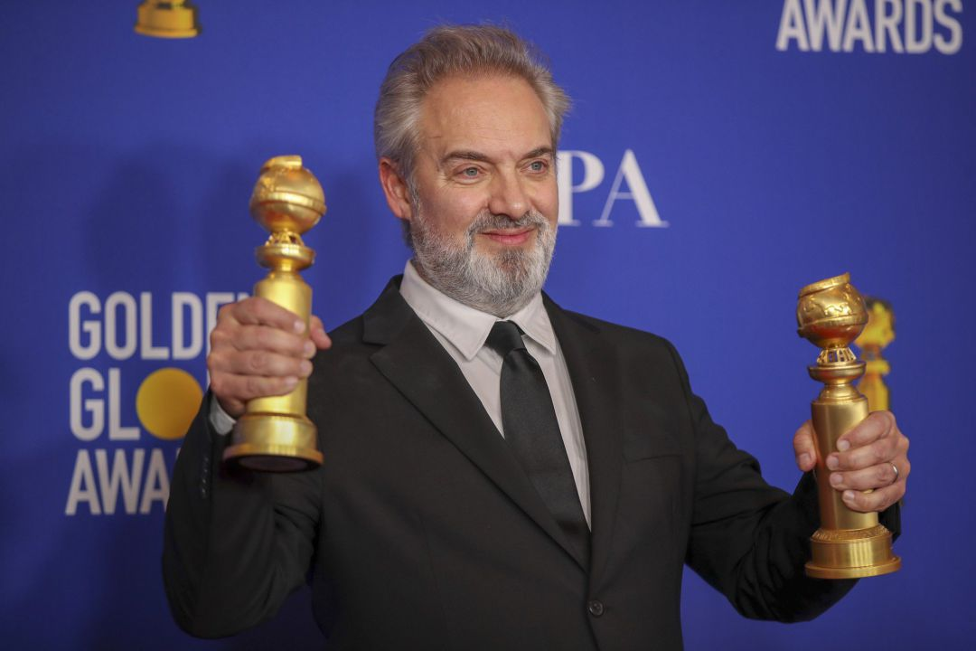 Sam Mendes in the photo deadline room at the 77th Golden Globe Awards at the Beverly Hilton on January 05, 2020