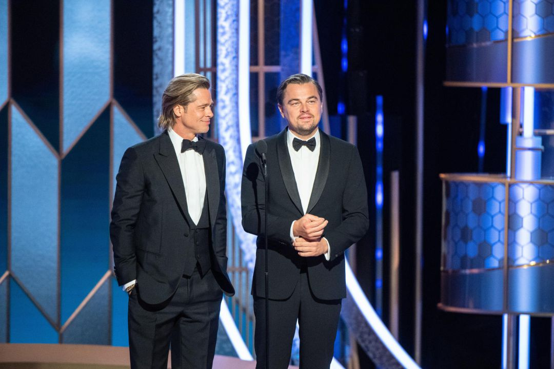 handout photo made available by the Hollywood Foreign Press Association (HFPA) shows Brad Pitt and Leonardo DiCaprio presenting during the 77th annual Golden Globe Awards ceremony at the Beverly Hilton Hotel, in Beverly Hills, California, USA, 05 January 2020