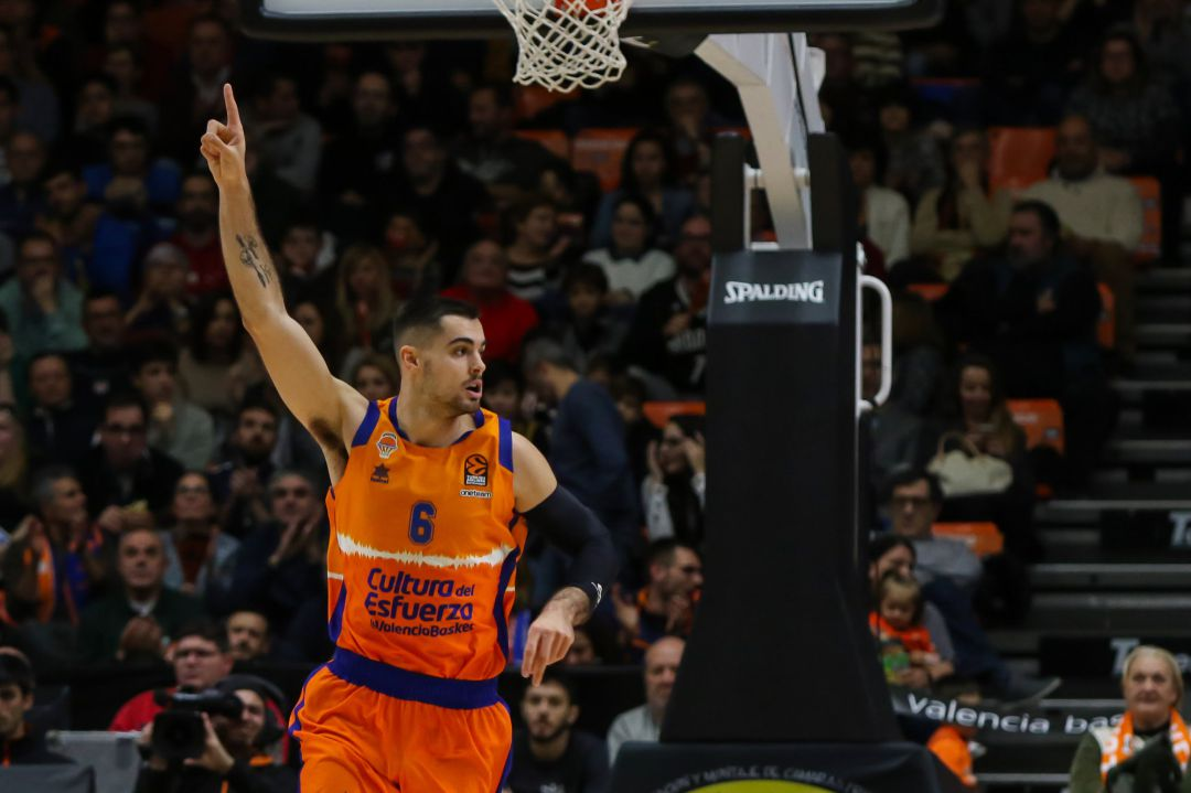 Alberto Abalde of Valencia Basket in action during Turkish Airlines EuroLeague Regular Season Round 17 match between. Valencia Basket v Alba Berlin played at Pabellon Fuente de San Luis. In Valencia, Espain. January 1, 2020. ONLY FOR USE IN SPAIN