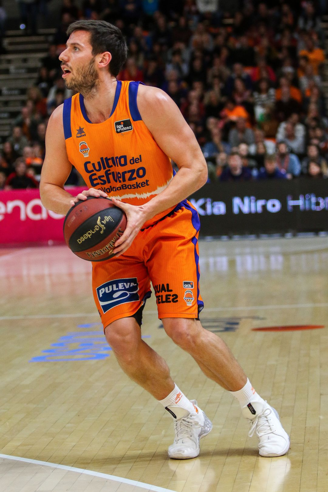 Sam Van Rossom of Valencia Basket in action during Liga Endesa Regular Season Round 17 match between. Valencia Basket v Club Joventut Badalona played at  Fuente de San Luis Pavilion. In Valencia, Espain. January 12, 2020.