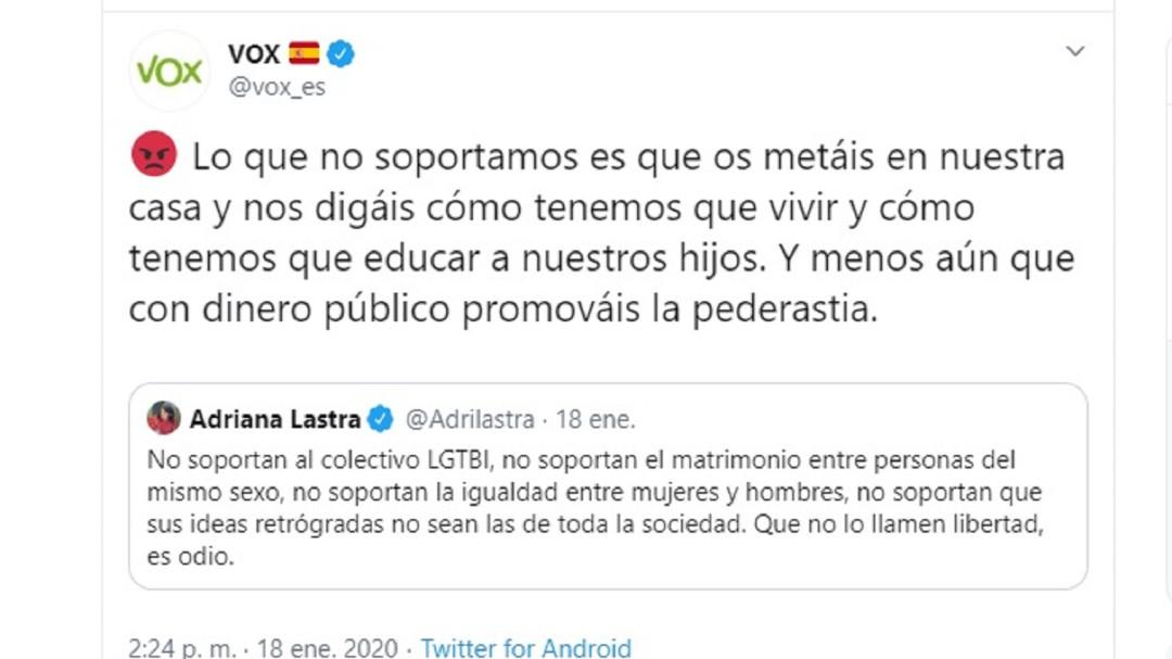Denuncian a Vox por vincular las leyes LGTBI con la pederastia