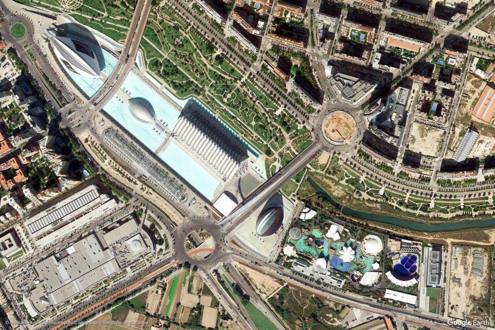 Valencia, con la Ciudad de las Artes y las Ciencias destacando en la imagen del satélite.
