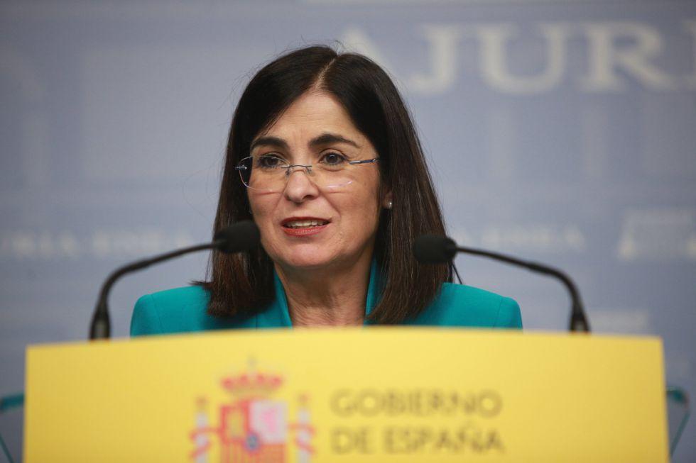 El 12 de marzo otra política dio positivo, se trata de la Ministra de Política Territorial y Función Pública, Carolina Darias. En la imagen, Darias interviene en la reunión convocada con miembros del Gobierno vasco en Vitoria.