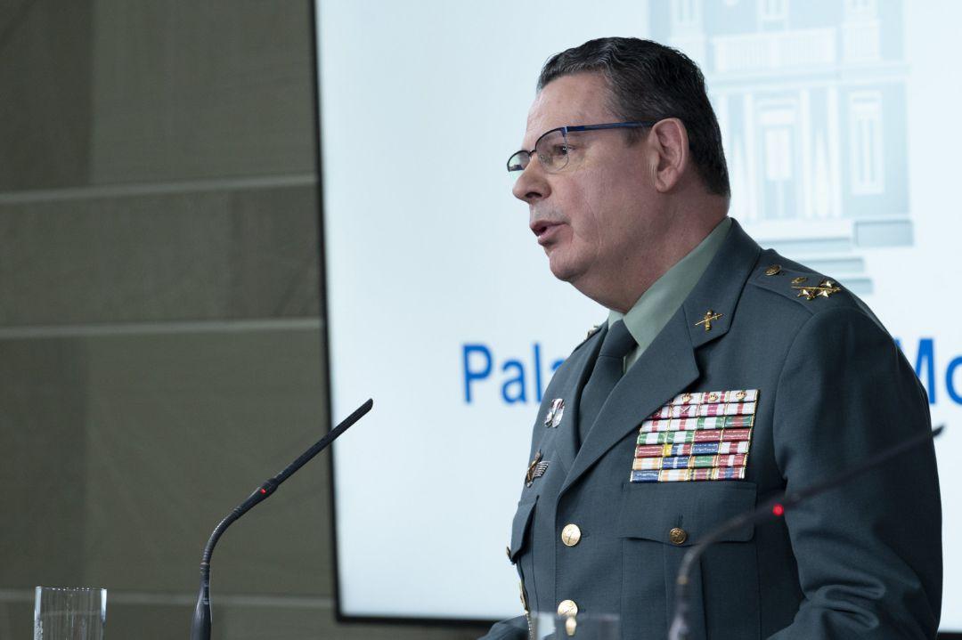 El DAO de la Guardia Civil, Laurentino Ceña, durante una rueda de prensa tras una reunión del Gabinete del Seguimiento del estado de alarma por el coronavirus