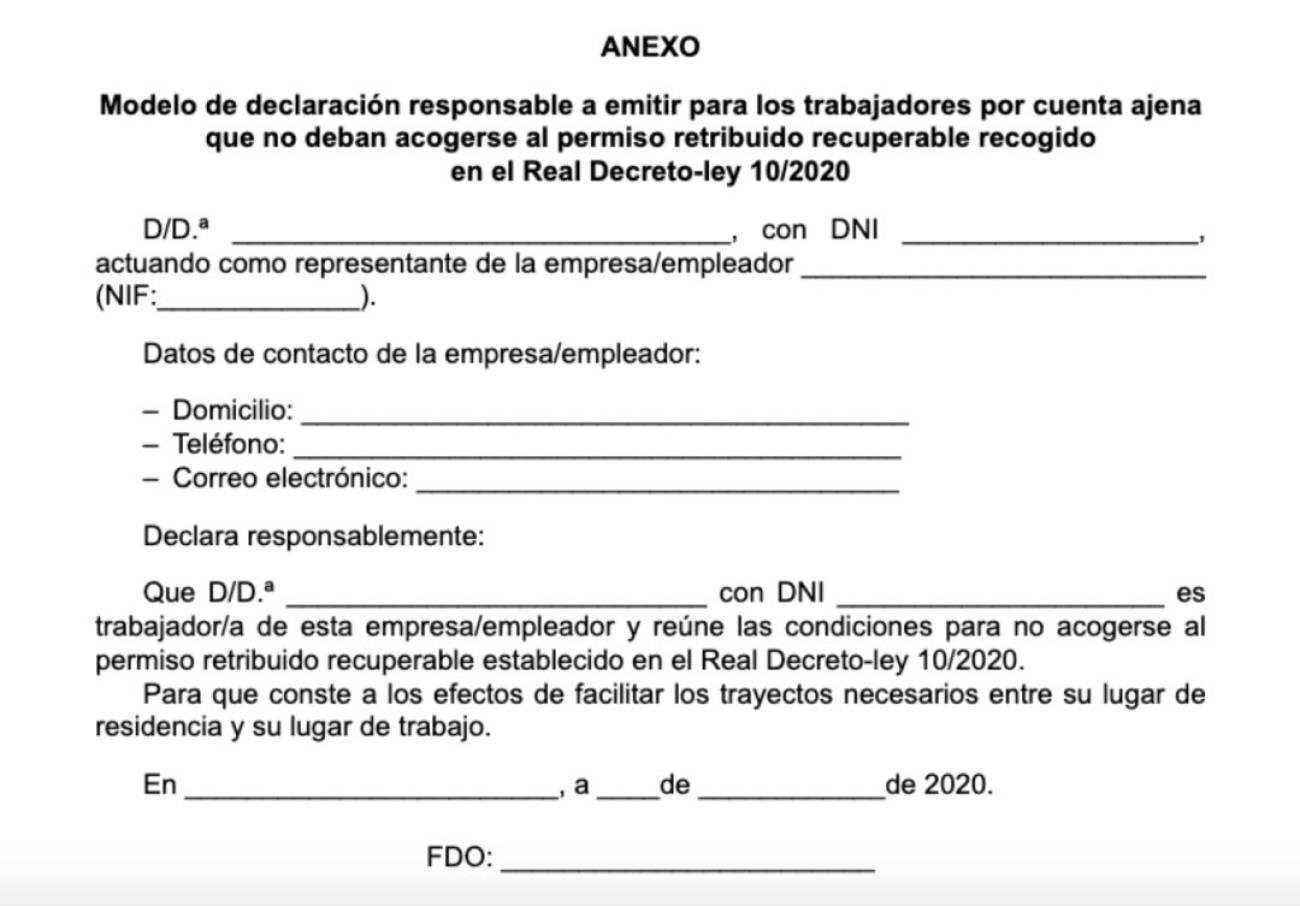 haz Incienso realeza  Coronavirus: Este es el certificado que tiene que firmar tu empresa si  tienes que seguir yendo a trabajar | Sociedad | Cadena SER