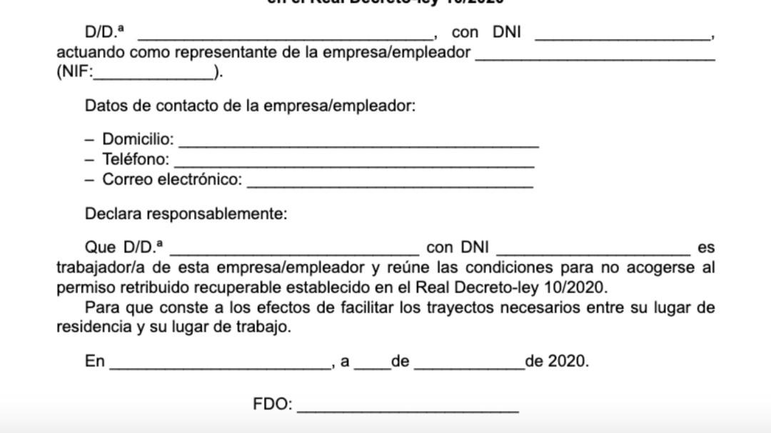Este es el certificado que tiene que firmar tu empresa si tienes que seguir yendo a trabajar