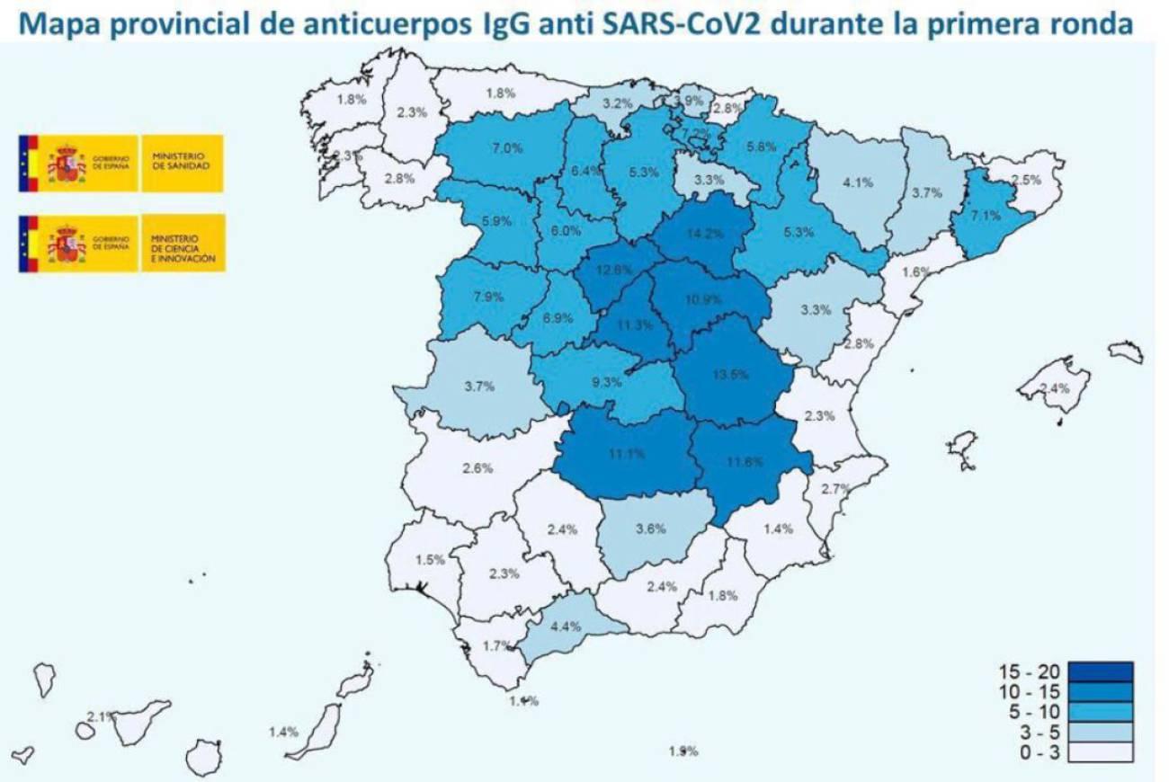 Mapa Flash Provincias Espana.Inmunidad Seroprevalencia Las Provincias Con Mayor Y Menor Porcentaje De Poblacion Con Anticuerpos Contra El Coronavirus Sociedad Cadena Ser