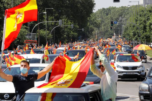 Demonstration by car promoted by Vox in Madrid against the management of the Government in the coronavirus pandemic