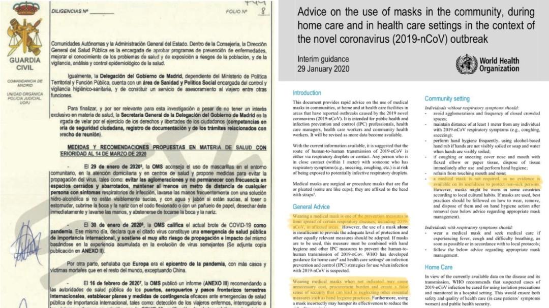 La manipulación sobre la OMS que hizo el informe de la Guardia Civil