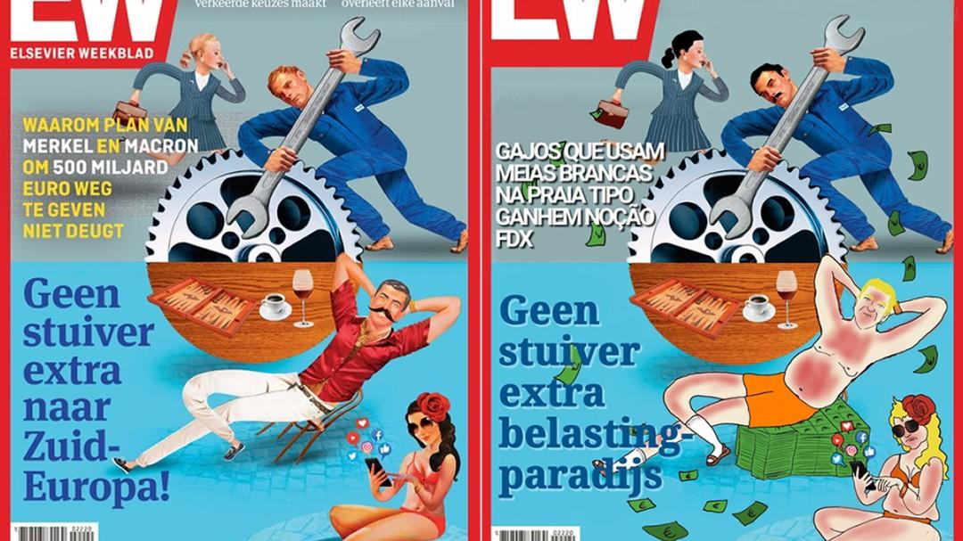 Un artista portugués le da la vuelta a la portada de una revista holandesa llena de prejuicios