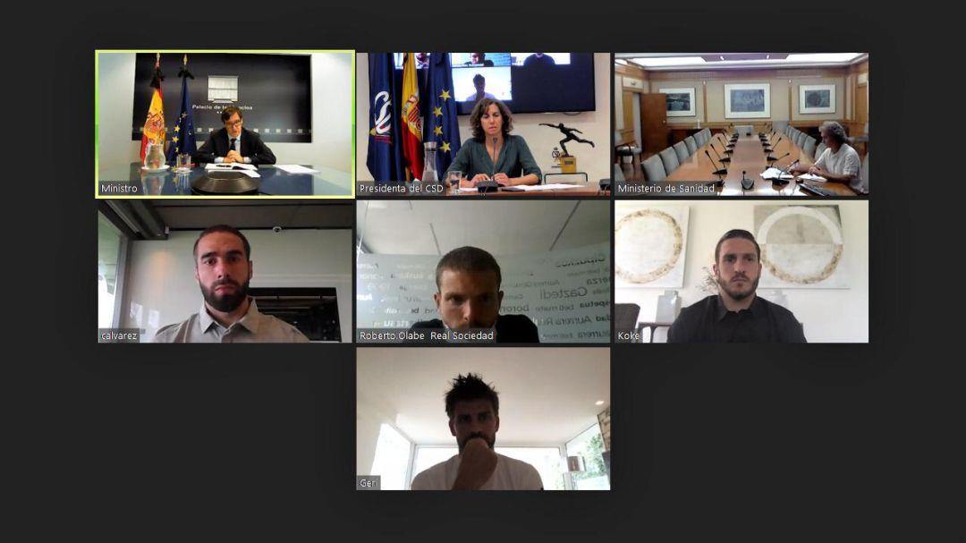 Reunión telemática entre Illa, Irene Lozano (CSD), Fernando Simón, Dani Carvajal, Asier Illarramendi, Koke y Gerard Piqué.