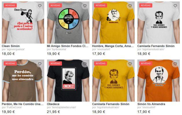 Algunas de las camisetas con la imagen de Fernando Simón a la venta