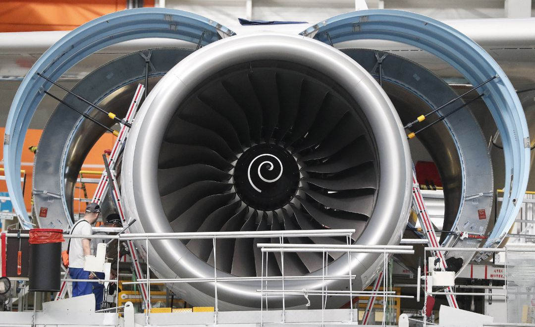 Blaganc (France).- (FILE) - A turbine seen at the A380 assembly line at the Airbus factory, in Blagnac, southern France, 06 March 2018 (reissued 01 July 2020). Airbus has anounced a major job cut, with about 15,000 jobs to be axed. (Francia)