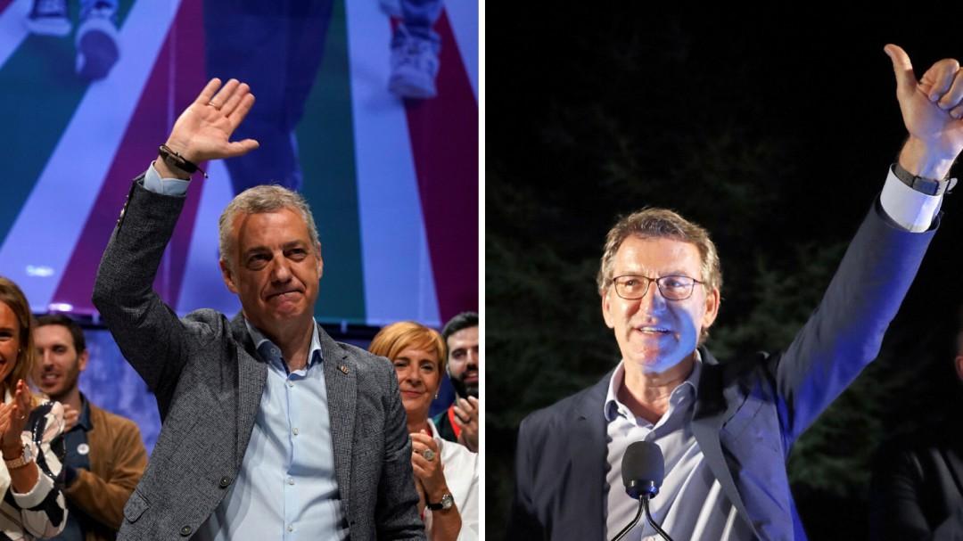 Feijóo revalida mayoría absoluta y Urkullu se refuerza: seguirán gobernando Galicia y Euskadi