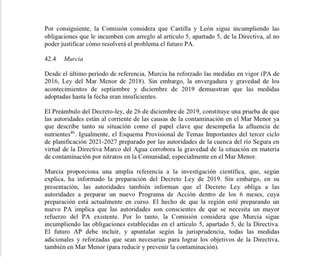 Fragmento del documento de la CE
