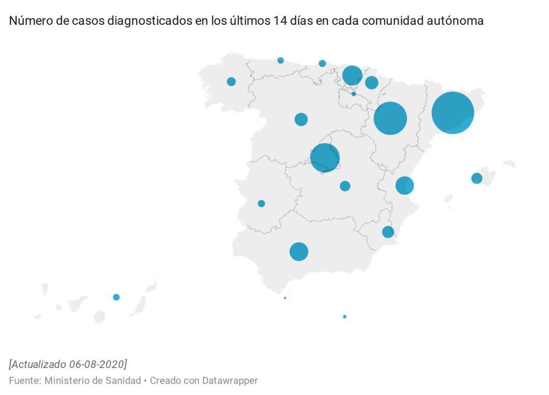 Mapa de rebrotes los contagios se disparan en Madrid y País Vasco ...