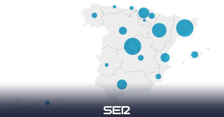 Mapa de contagios: los positivos se disparan en Madrid