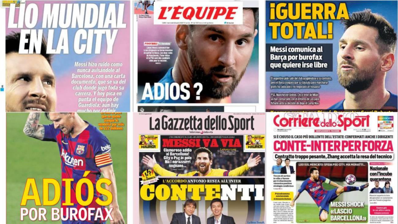 El anuncio de Messi para irse del Barcelona, en las principales portadas  del mundo   Deportes   Fútbol   Cadena SER