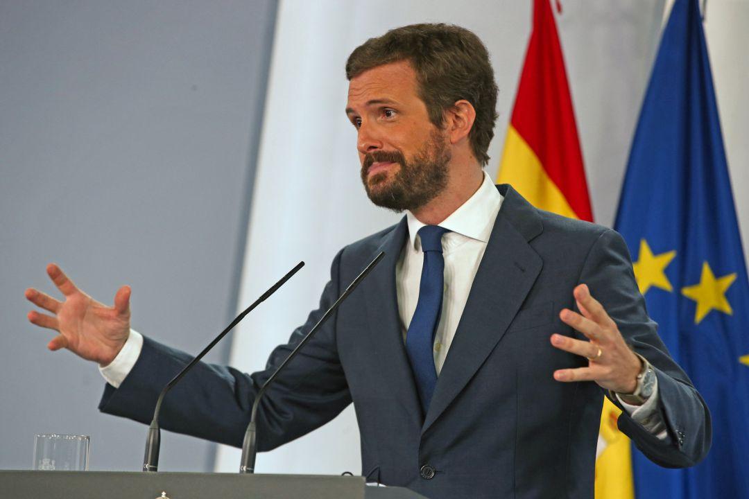 El presidente del PP, Pablo Casado, durante una de sus últimas ruedas de prensa