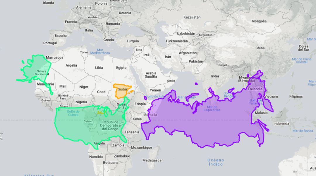 El mapa nos permite descubrir el tamaño real de cada nación.