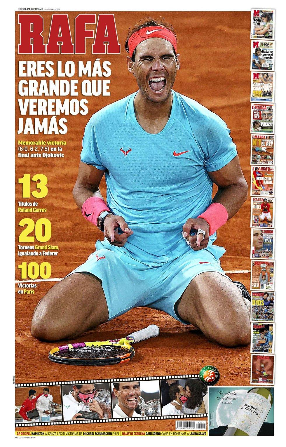 """Las principales portadas del mundo se rinden al """"superhéroe"""" Rafa Nadal"""