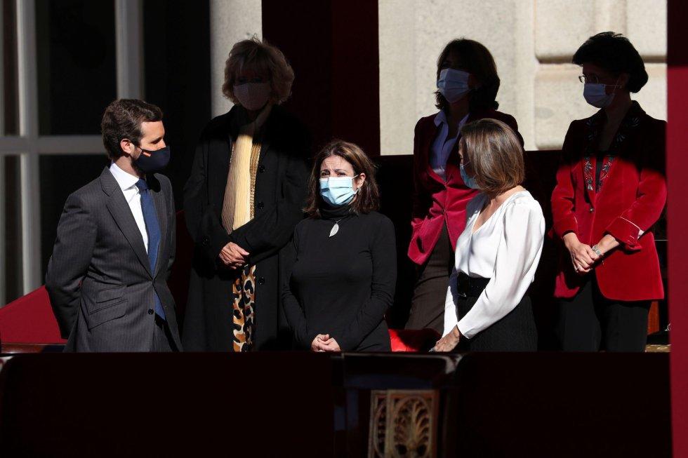 El presidente del PP, Pablo Casado y la portavoz del PSOE en el Congreso, Adriana Lastra