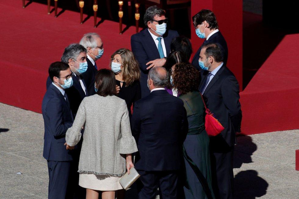 Los ministros de Consumo, Alberto Garzón, Deportes y Cultura, José Manuel Rodríguez Uribes,la ministra de Trabajo, Yolanda Díaz, el ministro de Sanidad, Salvador Illa y el ministro de Transportes, José Luis Ábalos